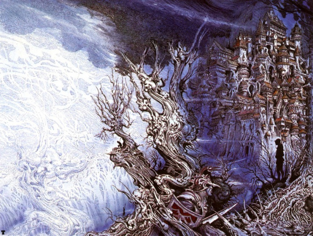 """Wraparound cover illustration for Michael Scott Rohan's Ice Age-set Fantasy novel """"The Forge in the Forest"""""""", drawn by Ian Miller"""