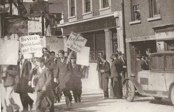 'Boycott British Goods and Courts' protest in Dublin.