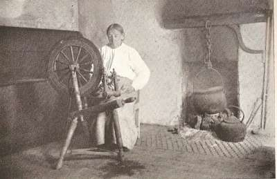 A woman spinning in Donegal.